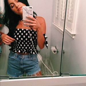 Forever 21 Tops - Black & white polka dot off the shoulder top